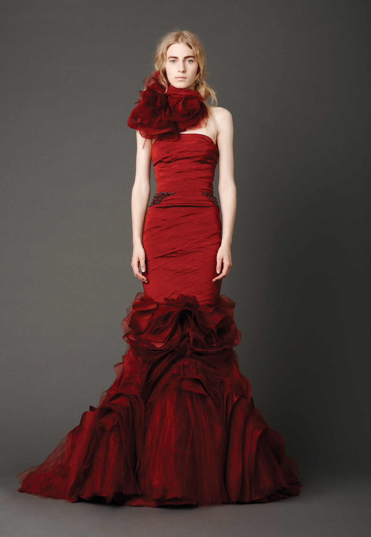 contemporary red wedding dress malta
