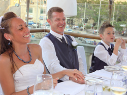 Jodie and Mike - Enjoying the wedding dinner in Malta