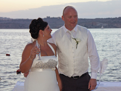Bride and Groom enjoying the Sunset in Malta